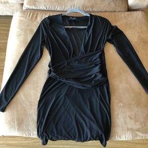Nasty Gal Deep Plunge Long sleeve Mini Dress